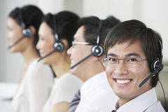 Customer Service Operators Wearing Headsets Royalty Free Stock Images