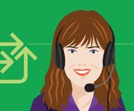 Customer Service On the Phone Vector Illustration. For many purpose such as print banner or website banner, poster on front office, etc Stock Illustration