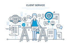 Customer service, problem solving, communication and communication, technical support. Customer and client service, problem solving, information technology and Stock Image