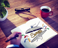 Customer Service Quality Platter Sketch Drawing Concept Royalty Free Stock Image