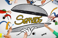 Customer Service Quality Platter Sketch Drawing Concept Stock Photo