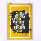 Customer service quote on grunge stain. Mock up for quotes. A4. Easy to edit Stock Image