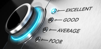 Customer Service. Rating button positioned on the word excellent. Conceptual image for illustration of good customer service and client satisfaction Stock Image