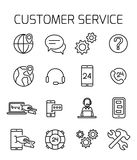Customer service related vector icon set. Well-crafted sign in thin line style with editable stroke. Vector symbols isolated on a white background. Simple royalty free illustration