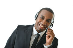 Customer Service Rep Holding Mic royalty free stock image