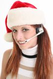 Customer Service Rep In Santa Hat Stock Images