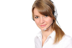 Customer service representative. Young female customer service representative in headset on a white background Royalty Free Stock Photography