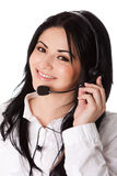 Customer service representative. Beautiful happy customer service representative at call center office with headset, isolated Royalty Free Stock Photo