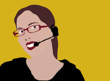 Customer service representative. The yellow background can be easily cut off stock illustration