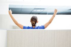 Customer Service Representative With Arms Raised Royalty Free Stock Photos