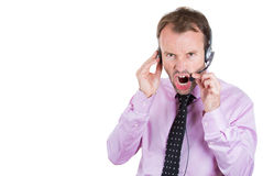 Customer service representative, businessman, being mad, angry, screaming on his hands free phone Stock Photos