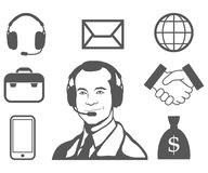 Customer service representative, call center, customer service icon, telecommunications operator, online assistant, customer. Service logo, vector artwork vector illustration