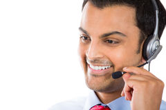 Customer service representative. Closeup portrait of male customer service representative or call centre worker or operator or support staff speaking with head Stock Photo