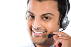 Customer service representative. Closeup portrait of male customer service representative or call centre worker or operator or support staff speaking with head Stock Image