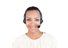 Customer service representative with headset on Stock Photos