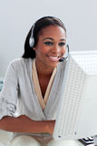 Customer service representative with headset on Stock Images