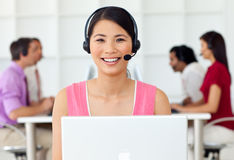 Customer service representative with headset on Stock Photo
