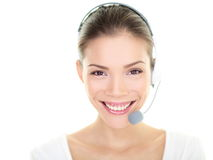 Customer service representative headset woman. Talking giving online help desk support looking at camera friendly happy and smiling isolated on white background stock images