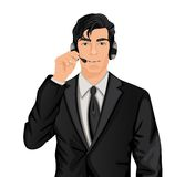 Customer service representative man. Young handsome customer service representative man in formal suit with headphones set vector illustration Stock Image