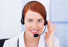 Customer Service Representative With Microphone Royalty Free Stock Photos