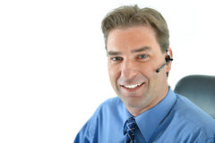 Customer service representative. On the phone helping people Stock Images