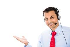 Customer service representative representing product. Closeup portrait of male customer service representative or call centre worker or operator or support staff Stock Photos