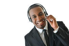 Customer Service Representative Smiling. And holding mic Stock Photo