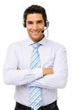 Customer Service Representative Standing Arms Crossed Royalty Free Stock Photos