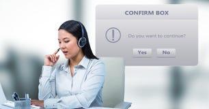 Customer service representative using headphones by dialog box. Digital composite of Customer service representative using headphones by dialog box Stock Images