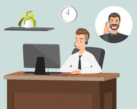 Customer service representative vector flat illustration. Call center operator in headset vector illustration. Male customer service representative answering the vector illustration