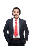 Customer service representative wearing a headset.  Royalty Free Stock Photo