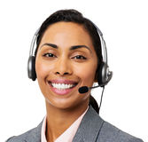 Customer Service Representative Wearing Headset. Portrait of beautiful customer service representative wearing headset over white background. Horizontal shot Royalty Free Stock Image