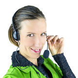 Customer service representative. Young female customer service representative. Isolated over white background Stock Photos