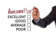 Customer service satisfaction survey. Tick placed in awesome checkbox on customer service satisfaction survey form Stock Photos