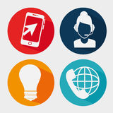 Customer service set flat icons. Vector illustration design Stock Photos