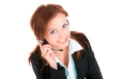 Customer Service -smile. Businesswoman talking isolated on white royalty free stock photo