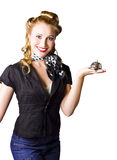 Customer service with smile. A woman holding a calling bell, concept of old fashioned service with a smile Royalty Free Stock Image