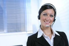 Customer service and smile. Customer service or businesswoman, smile and call centre Royalty Free Stock Images