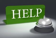 Customer service support helpdesk bell. Hotel style help bell on customer service support desk vector illustration