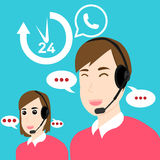 Customer service and support Open 24 hours. Call Center Customer Support Service Open 24 hours Royalty Free Stock Image