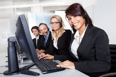 Customer service support people. Group of young business customer service people Stock Photo