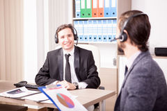 Customer service support working in the office Royalty Free Stock Photography