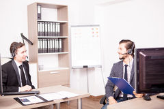 Customer service support working in the office Royalty Free Stock Image