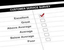 Customer service survey. Perspective view of a customer service survey Stock Image
