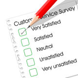 Customer service survey. Very satisfied check box in customer service survey form Royalty Free Stock Image