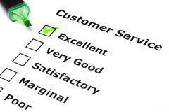 Customer service survey. With green tick on Excellent with felt tip pen Stock Images