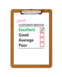 Customer Service Survey Clipboard. An image showing a clipboard or clip board with an A4 sheet of letterhead paper with a customer service survey printed on the Royalty Free Stock Photo