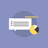 Customer service survey flat icon illustration. Customer service survey checklist with business graph and pencil. Flat icon modern design style vector Royalty Free Stock Photos