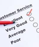 Customer service survey form Stock Photography