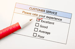 Customer service survey form. Customer service survey form with red marker stock images